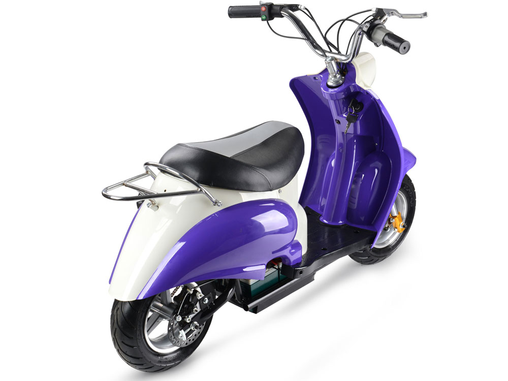 Dirt Bike Battery >> MotoTec 24v Electric Moped Purple Kids Scooter 350W
