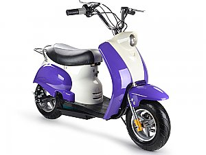 MotoTec 24v Electric Moped Purple Kids Scooter 350 Watt Kids Toy